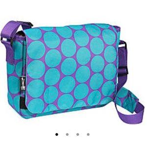 Wildkin messenger bag laptop tablet bag teal dots